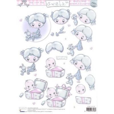 Image Carterie 3D SWALK - Fillette et bébé