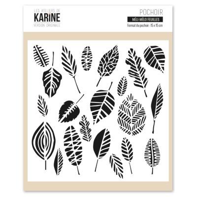 Pochoir Les Ateliers de Karine - Méli-mélo feuilles
