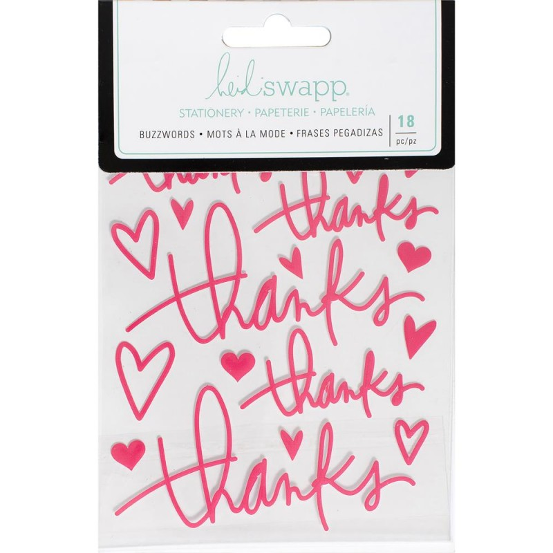 Stickers Heidi Swapp Buzzwords - Thanks - Pink