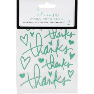Stickers Heidi Swapp Buzzwords - Thanks - Teal