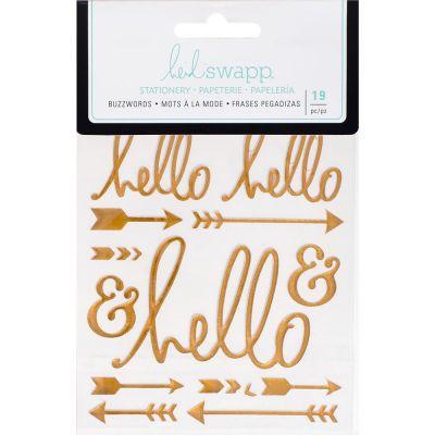 Stickers Heidi Swapp Buzzwords - Hello - Gold