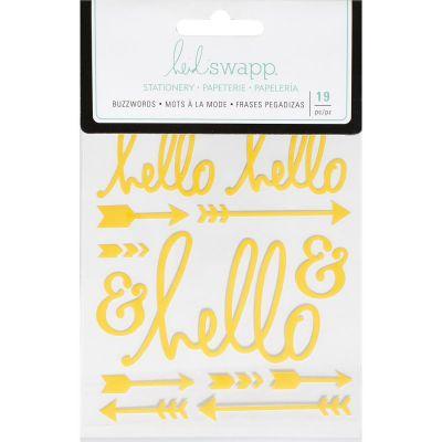 Stickers Heidi Swapp Buzzwords - Hello - Yellow