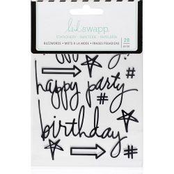 Stickers Heidi Swapp Buzzwords - Birthday - Black