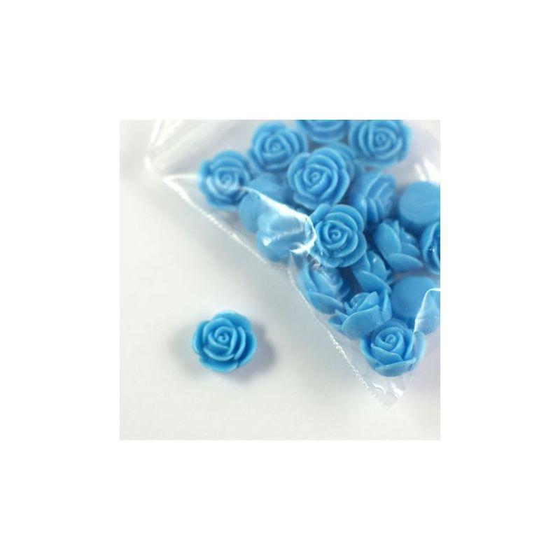 Rose en résine 15mm (lot de 20) - Bleu