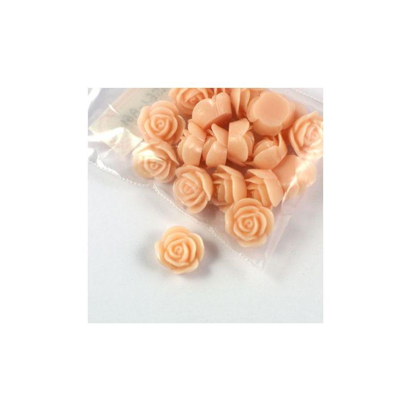 Rose en résine 15mm (lot de 20) - Beige rosé clair