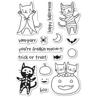 Tampons transparents Poppystamps - Halloween Costume Cats