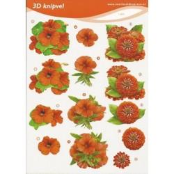 Image Carterie 3D - Dahlia & Fleurs rouges