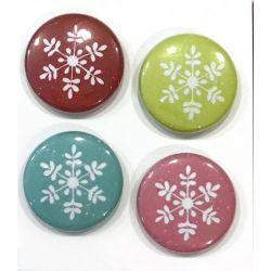 "Badges Lime Citron 1"" - Flocons Roses"