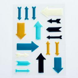 Stickers Enamel Flèches - Jaune Blanc Bleu