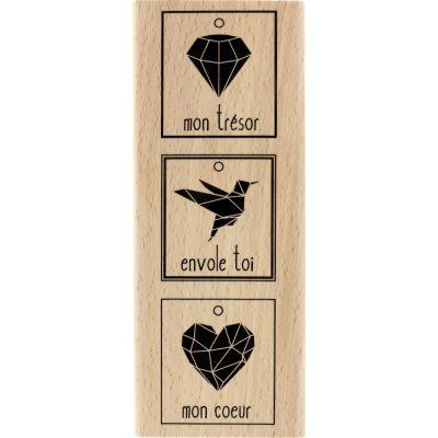 Tampon bois Florilèges - Graphic Love - 3 Précieux