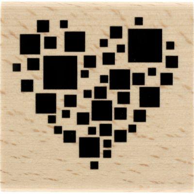 Tampon bois Florilèges - Graphic Love - Carré coeur