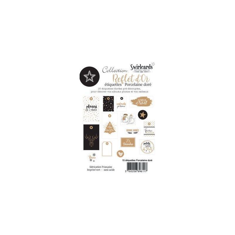Swirlcards - Reflet d'OR Porcelaine Dorée Lot de 15 étiquettes