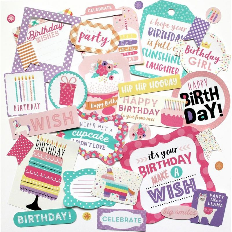Die-cuts Ephemera Happy Birthday Girl