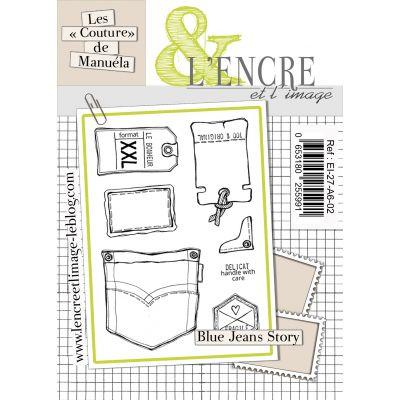 """Tampons L'Encre & l'Image -  Les """"Couture"""" de Manuéla - Blue jeans story"""