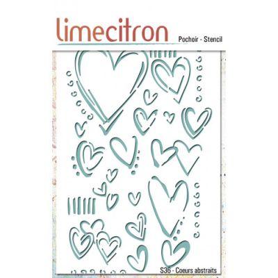Pochoir Lime Citron 10x15 cm - Coeurs abstraits