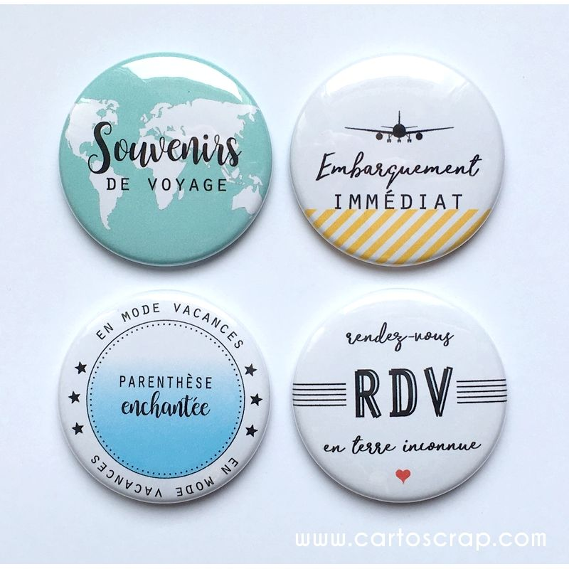Lot de 4 badges 38mm CartoScrap - Souvenirs de Voyage