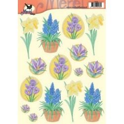 Image Carterie 3D - Jonquilles, Iris et Campanules