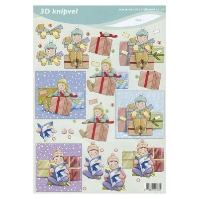 Image Carterie 3D - Enfants et paquets cadeaux