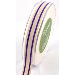 Ruban coton rayé beige - violet