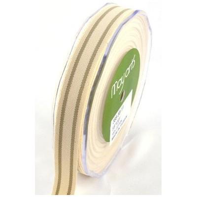 Ruban coton rayé beige - taupe
