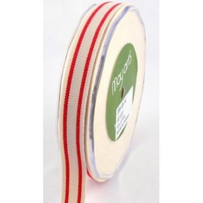 Ruban coton rayé beige - rouge