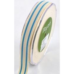 Ruban coton rayé beige - bleu ciel