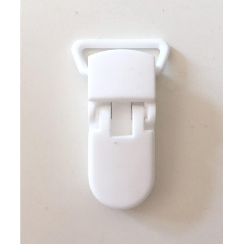 Pince clip plastique Attache tétine - Blanc