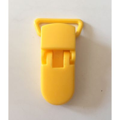 Pince clip plastique Attache tétine - Jaune Moutarde