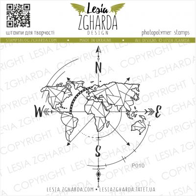 Tampon transparent Lesia Zgharda - Wind Rose on a Map (contour)