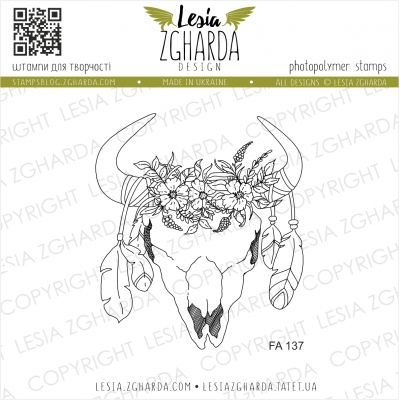 Tampons transparent Lesia Zgharda - Skull in a bocho Style