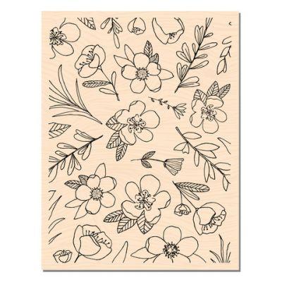 Tampon bois Les Ateliers de Karine - Fleurs de saison
