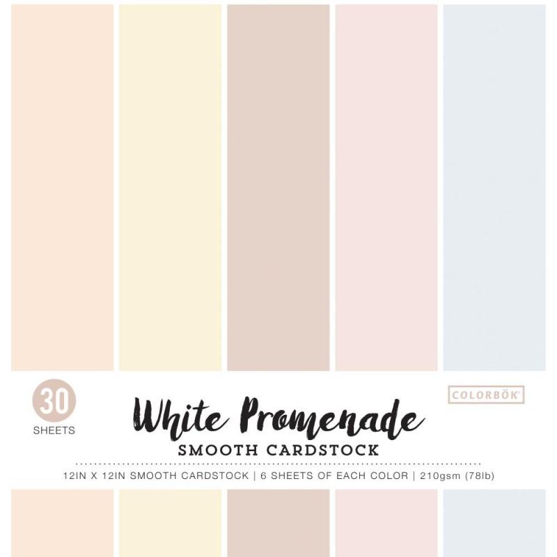 Pack de 30 cardstocks 30x30 cm - Texture lisse - White Promenade