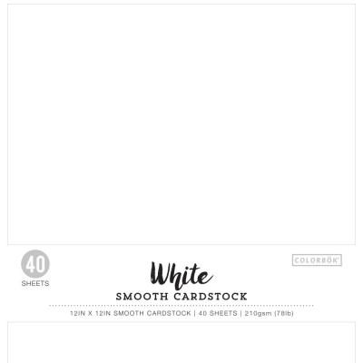 Pack de 40 cardstocks 30x30 cm - Texture lisse - White