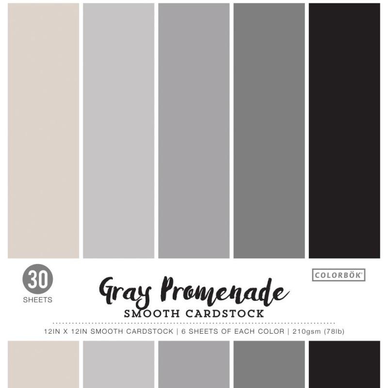 Pack de 30 cardstocks 30x30 cm - Texture lisse - Gray Promenade