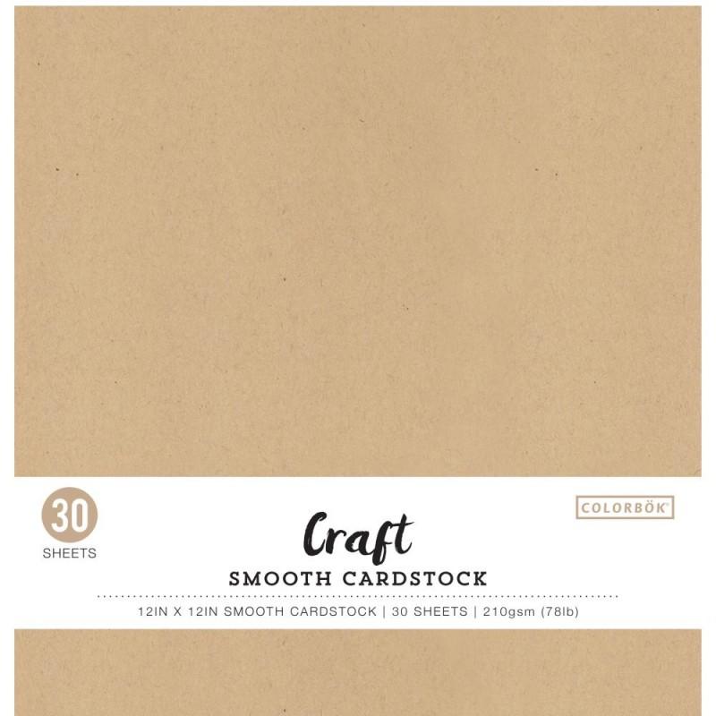 Pack de 30 cardstocks 30x30 cm - Texture lisse - Kraft