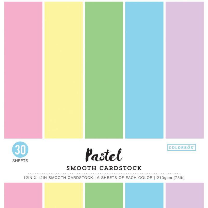 Pack de 30 cardstocks 30x30 cm - Texture lisse - Pastel
