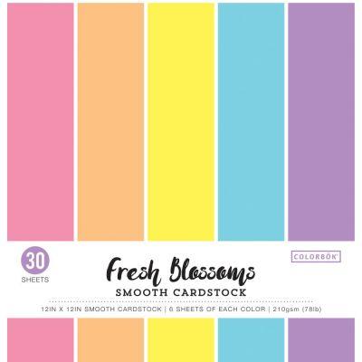 Pack de 30 cardstocks 30x30 cm - Texture lisse - Fresh Blossoms