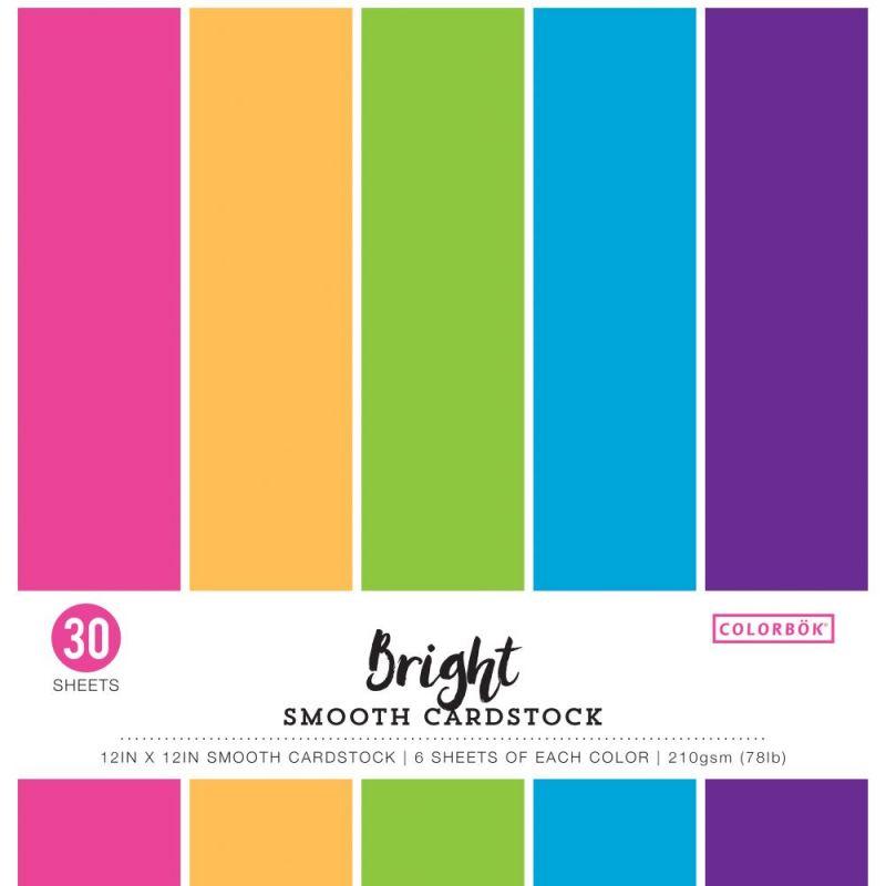 Pack de 30 cardstocks 30x30 cm - Texture lisse - Bright