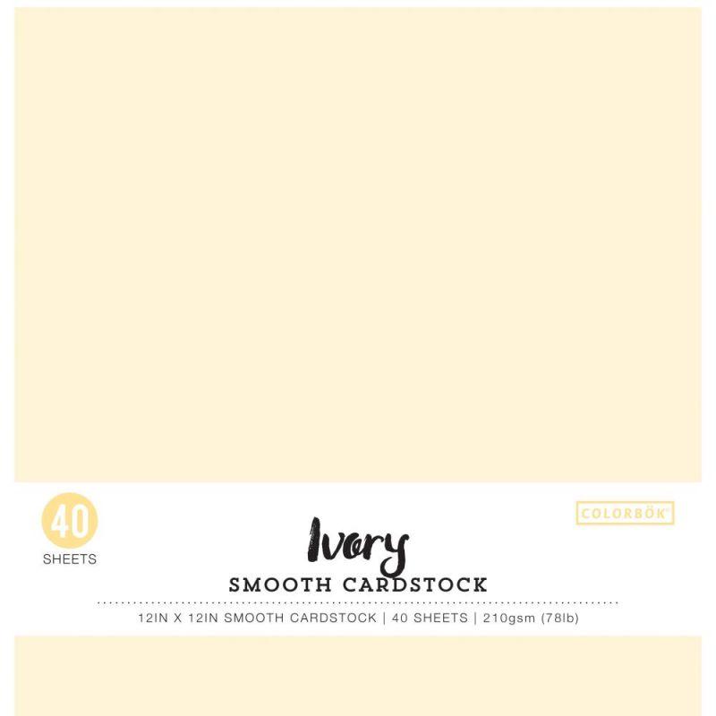 Pack de 40 cardstocks 30x30 cm - Texture lisse - Ivory