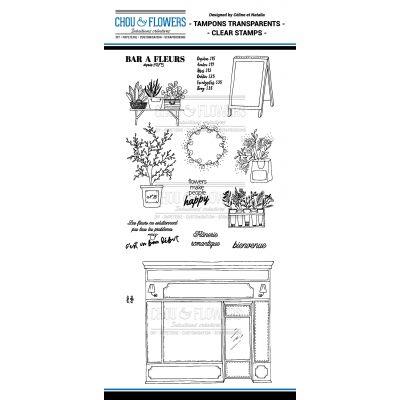 Tampons transparents Chou & Flowers - Mon Petit Côté - Fleur bleue 1