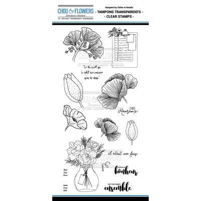 Tampons transparents Chou & Flowers - Mon Petit Côté - Fleur bleue 2