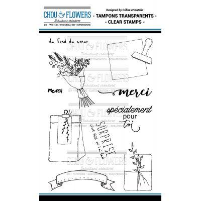 Tampons transparents Chou & Flowers - Mon Petit Mot - Merci