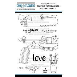 Tampons transparents Chou & Flowers - Mon Petit Mot - Love