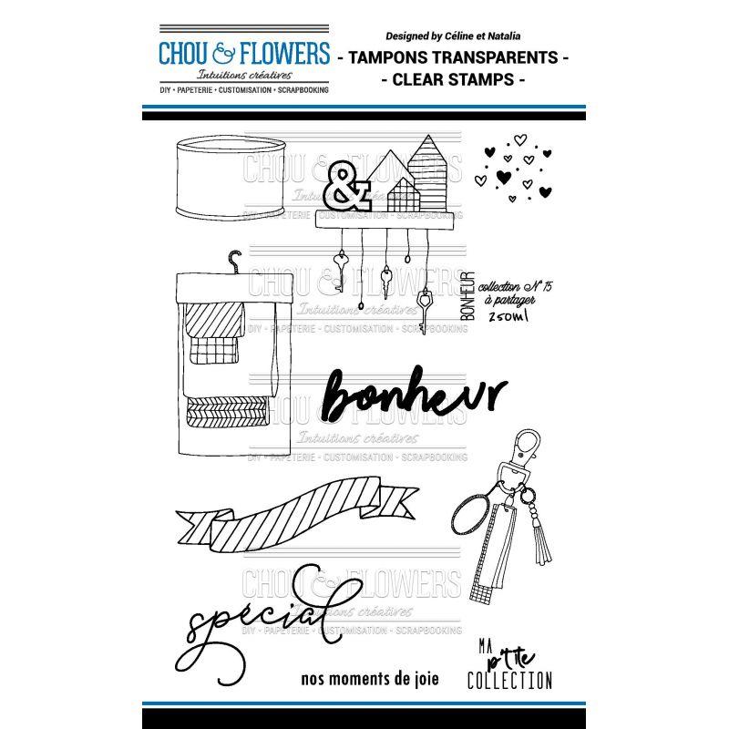 Tampons transparents Chou & Flowers - Mon Petit Mot - Bonheur