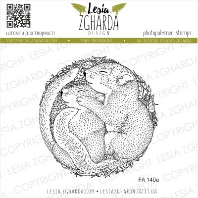 Tampons transparent Lesia Zgharda - Cuddling Baby Squirrels