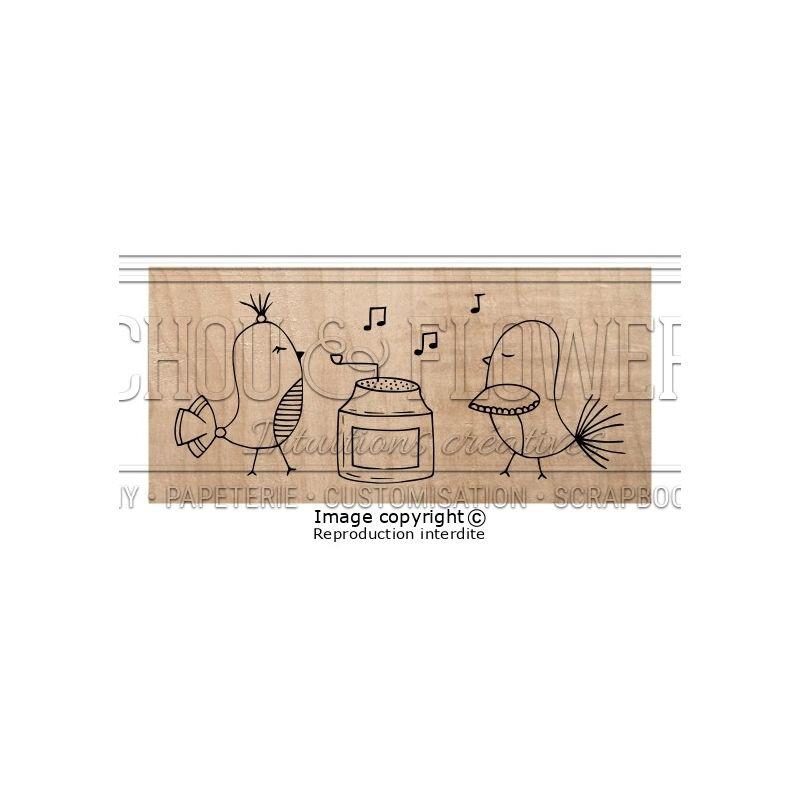 Tampon bois Chou & Flowers - Esprit Brocante - Les Pious Pious en musique