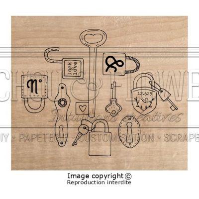 Tampon bois Chou & Flowers - Esprit Brocante - Locker