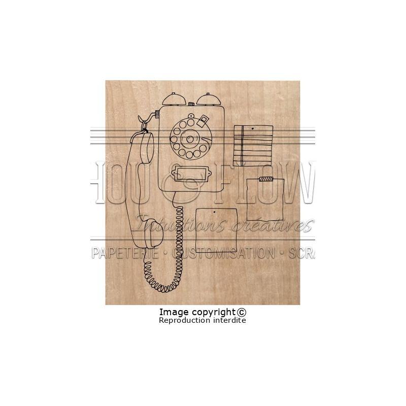 Tampon bois Chou & Flowers - Esprit Brocante - Phone Call
