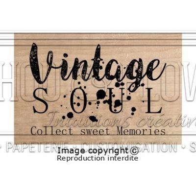 Tampon bois Chou & Flowers - Esprit Brocante - Vintage Soul