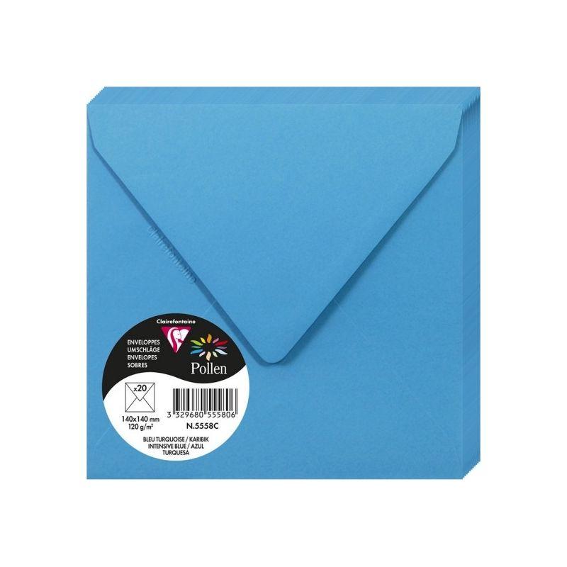 Enveloppes Pollen 140x140 - Bleu Turquoise